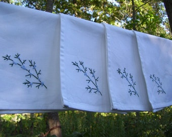 4 Cedar Bough cloth napkins- hand stitched