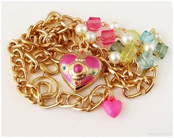 Sailor Moon Cosmic Heart Compact Necklace, Beaded Pearl Chain, Gold Plated - Magical Girl, Anime Jewelry