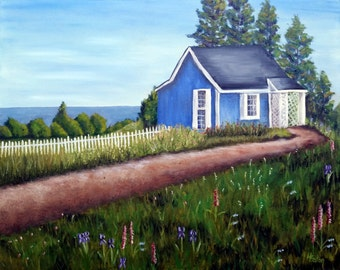 Cottage by the Sea II - Original Oil Painting on 16x 20 Wrapped Canvas