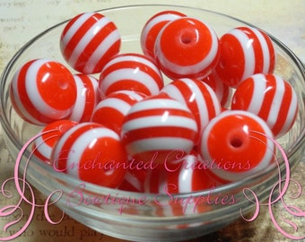 20mm Red and White Striped Beads Qty 10