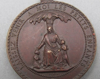Antique French Jesus Religious Medal Let The Little Children Come To Me  SS-502