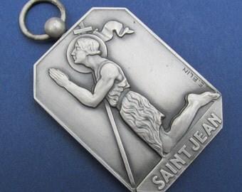 Antique Saint John the Baptist Religious Art Medal Art Deco by E Blin  SS13