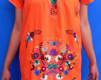 Mexican Orange Mini Dress Colorful Vtg Tunic Floral Embroidered Handmade Elegant Small / Medium