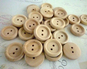 7/8 Inch Wooden Buttons Round - Pack of 10