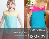 Colorblock dress pattern and tutorial 12m-12y EASY SEW fully lined jumper tunic