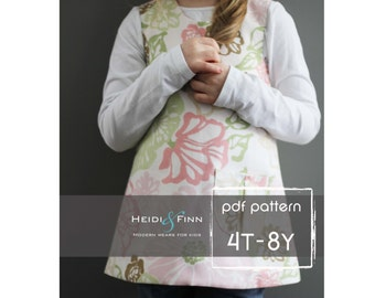 Sweet Pocket Pinafore pattern and tutorial 4T - 8y easy sew pdf