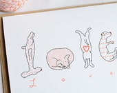 Dog LOVE Card featuring dog letter drawings - Single card A2 size