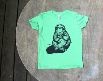 Sloth Playing the Ukulele T-Shirt / Hipster Kids American Apparel Grass Green Tee