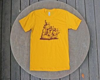 Squirrel T-Shirt Blue Grass Band Design / Hipster Tee / American Apparel Gold Unisex Tee