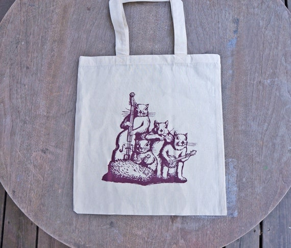 Squirrel Band Blue Grass Music Design on Natural Color Tote Bag