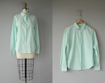 60s Blouse / 1960s Cotton Blouse / Pale Acqua Shirt / Tailored Button Up Shirt / Ladies Oxford Shirt