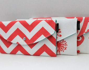 Set Of 3 - Modern Coral Collection - Bridesmaid Clutches