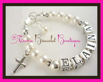Girl Bracelet for Baptism or Christening with swarovski pearls, sterling silver cross, name and in any ages and sizes, communion gift