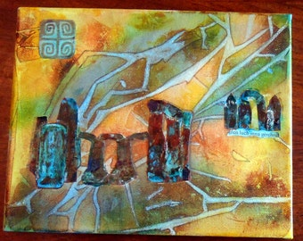Original Abstract Collage Ley Lines Stone Circle Pagan