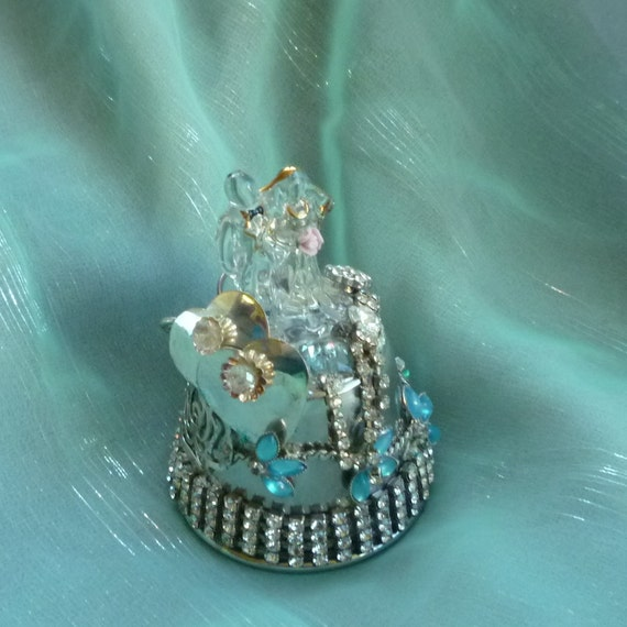 Glass Silver and Aqua Bride and Groom Wedding Cake Topper