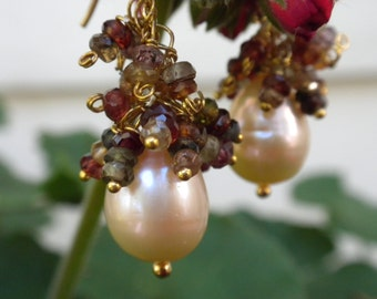 Pearl Sapphire Earrings Bride Wedding Event Baroque Pearls FREE Shipping