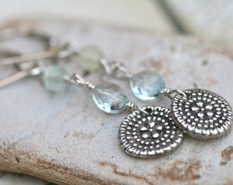 Aquamarine prehnite and antique replicated sterling  bead by katherine