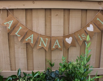 Personalized burlap birthday banner
