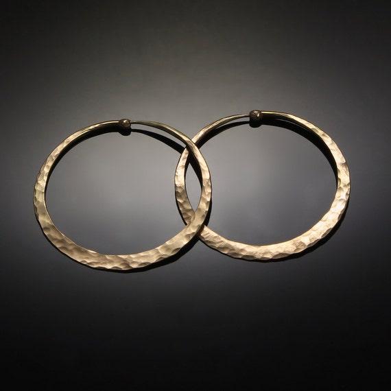 Solid Gold Hoops // Hammered 14 k Large Gold Hoop Earrings