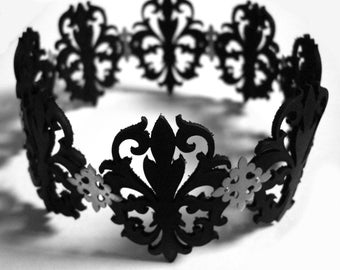 Black Laser Cut Leather Lace and Sterling Silver Choker Necklace - Fleur de Lis - OBSIDIAN QUEEN