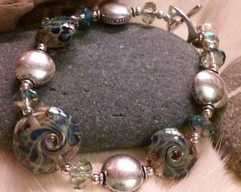 Lampwork Bracelet WAVY BLUES