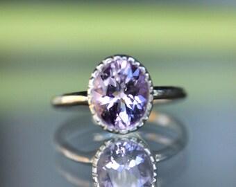 Pink Amethyst Sterling Silver Ring, Gemstone Ring, Milgrain Details In No Nickel / Nickel Free - Made To Order