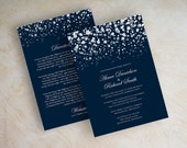 Polka dot wedding invitation, modern, snow, snowfall, snowy, starry night, twinkling lights, glitter wedding invitation, navy blue, Glitter