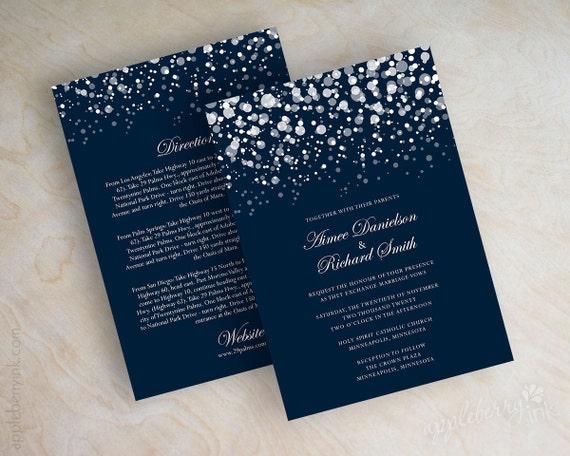 Polka dot wedding invitation, modern, snow, snowfall, snowy, starry night, twinkling lights, glitter wedding invitation, navy blue, Glitter