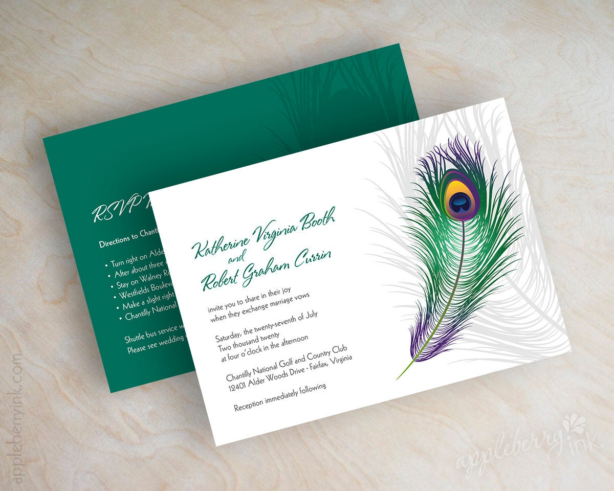 Peacock Feather Wedding Invitation: Peacock Wedding Invitations Peacock Feathers By Appleberryink