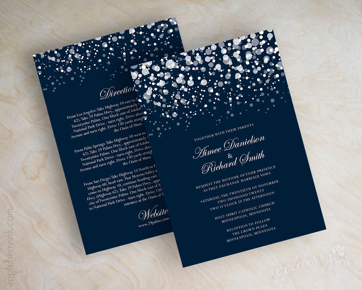 Dark Blue Wedding Invitations: Polka Dot Wedding Invitation Modern Snow Snowfall Snowy
