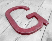 Letter G metal letter - rustic primitive western decor - RED or you choose color