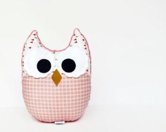 Coral Stuffed Owl Plush Toy Peach Pink Gray