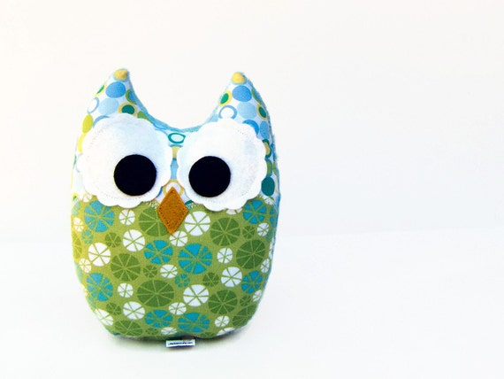 Stuffed Owl Toy Blue Green Plush Owl Mini Pillow Minky