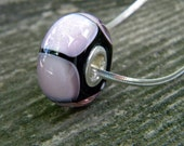 Lavender lampwork glass bead with sterling silver core necklace