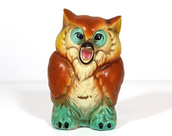 Vintage Chalkware Owl Bank