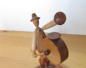 Small Wooden Figurine - Drummer - Borowik and Byliniak - Poland