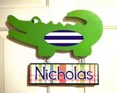 alligator nursery wooden alligator door hanger alligator door sign children's name sign personalized sign kid's door sign alligator wall art