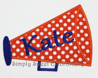 Megaphone Cheer Applique Machine Embroidery Design