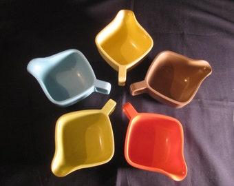 Retro Brookpark Modern Design Sugar & Creamer Sets, brown, yellow, aqua, maroon, white, designed by Joan Luntz, 1950s,TheRetroLife