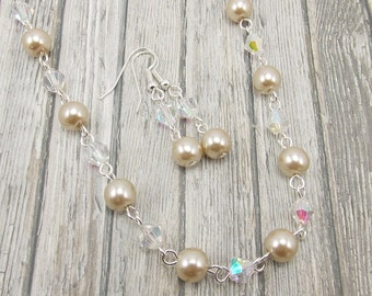 Necklace and Earring Set - Taupe Glass Pearls with Aurora Borealis Glass Beads - Beige