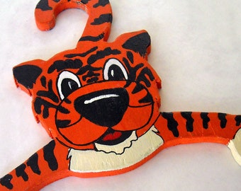 vintage 1970's wooden hand painted tiger clothes hanger