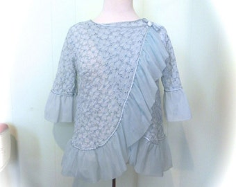 Vintage 50s Top Jacques Heim Cha Cha Lounge Top with Ruffle - fab! - on sale