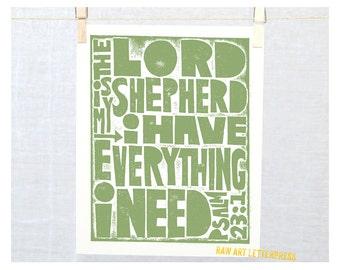 Psalm 23-1 The Lord is My Shepherd, Wall Art, Modern Nursery Art