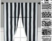 Black and White Curtain Panels Modern Geometric Chevron Damask Stripe Drapery Window Treatments Set Pair