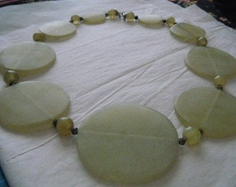 Crop Circle Necklace Glass or Stone Light Green