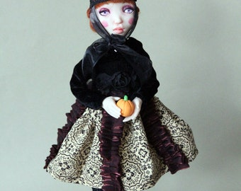 art doll Halloween Witch Burgundy One of a kind Figurine Craft polymer clay