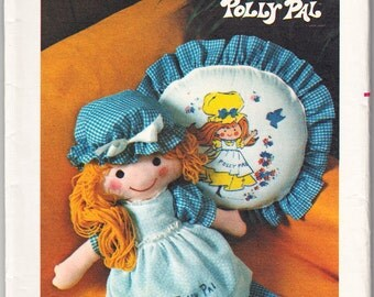 Vintage 1970 Butterick 4519 UNCUT Craft Sewing Pattern Huggable Polly Pal Plush and Pillow