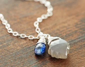 Thunder and Lightening Moonstone Jewelry, Sterling Silver Blue Gray Gemstone Necklace