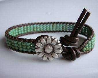 Green Turquoise Seed Beaded Leather Bracelet Daisy Button