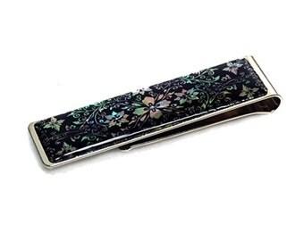 Mother of Pearl Arabesque Design Slim Stainless Steel Metal Black Money Clip Holder